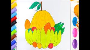 Tô màu mâm ngũ quả - Bé học tô màu các loại hoa quả