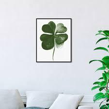 Shop Oliver Gal Four Leaf Clover Floral And Botanical Wall Art Framed Canvas Print Botanicals Green White Overstock 31794585