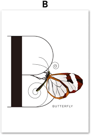 Amazon Com Kmaomaozsh Prints Canvas Cute Butterfly Animals Letter B Design Nordic Style Canvas Painting Art Print Poster Wall Painting Modern For Children S Room Living Room Bedroom Decor 60x90cm No Frame Furniture Decor