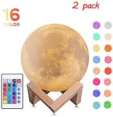 Amazon Com Urft Disco Ball Disco Lights 3d Moon Lamp 16 Led Colors Party Lights Dimmable Rechargeable Stage Night Light With Remote Control And Wooden Stand Dj Rgb Lighting For Home Room Parties Kids