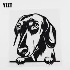 Hot Offer 972a Yjzt 15 2cmx15 9cm Dachshund Car Sticker Peeking Dog Vinyl Decal Black Silver 8a 0055 Cicig Co