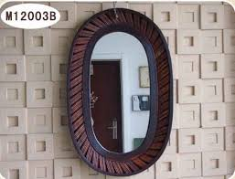 wooden frame oval wall mirror