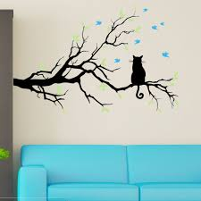 Cat On A Branch With Birds Wall Decal Sticker 3 Color Decal The Walls
