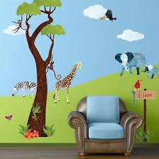 Wall Decals Jungle Tree And Animals Safari Theme Wall Stickers For Kids Rooms Or Baby Nursery Baby Room Wall Stickers Jungle Wall Decals Jungle Wall Stickers