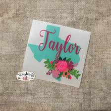 Personalized Floral Texas Decal Texas Yeti Decal Texas Car Etsy Yeti Decals Monogram Decal Cute Car Decals