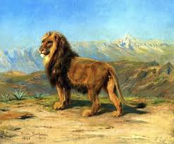 Rosa Bonheur Lion In A Mountainous Landscape 20 X25 Wall Decal Contemporary Wall Decals By Art Megamart