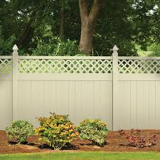 Lowes Shop Freedom Contractor Bradford Sand Lattice Top Semi Privacy Vinyl Fence Panel Common 72 In X 8 F Fence With Lattice Top Fence Planning Fence Design