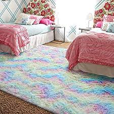 Amazon Com Arogan Luxury Fluffy Girls Rug For Bedroom Kids Room 4 X 6 Feet Super Soft Rainbow Area Rugs Cute Colorful Carpet For Nursery Toddler Home Kitchen Dining