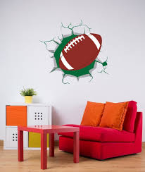 Football 3d Broken Wall Decal Ball Coming Through The Wall Etsy
