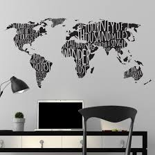 World Map Famous Travel Quotes Wall Decal Shop Decals At Dana Decals Decal Wall Art Vinyl Wall Art Decals World Map Travel