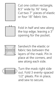 pleated face mask pattern with ties or