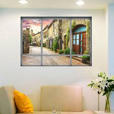 3d Window View Wall Stickers Italy Little Town Landscape Scenery Decal Wall Stickers The Door Sticker Sofa Background Decoration Wall Stickers Italy Wall Stickerdoor Sticker Aliexpress