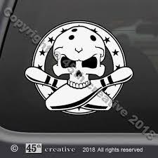 Bowler Skull Crossbones Decal Sticker Bowlers Window Decal Etsy
