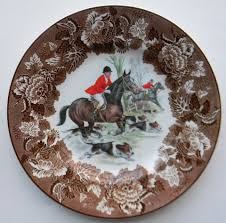 vintage brown transferware english fox