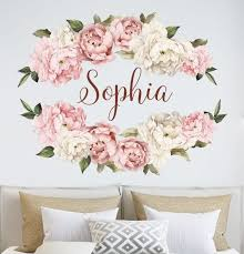 Name Wall Stickers Peony Wall Decals Watercolor Girl Etsy In 2020 Name Wall Stickers Wall Stickers Flower Wall
