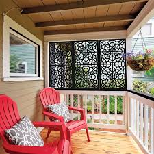 Freedom 24 In X 4 Ft Fretwork Black Vinyl Decorative Screen Panel Lowes Com Privacy Screen Outdoor Diy Porch Decorative Screen Panels