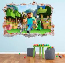 Minecraft 3d Smashed Wall Decal Broken Wall Sticker Wall Art Break Wall Wall Decals Sticker Wall Art