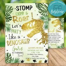 Invitaciones De Cumpleanos De Dinosaurios T Rex Editables Descarga