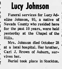 Lucy Adeline Brown Johnson obituary - Newspapers.com