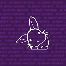 Peering Cute Head Tilt Rabbit Sticker Bunny Car Decal Etsy Coloring Stickers Laptop Decal Themed Stickers