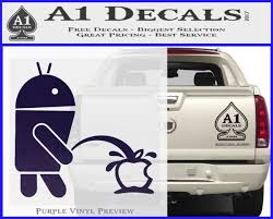 Android Pissing On Apple Decal Sticker A1 Decals