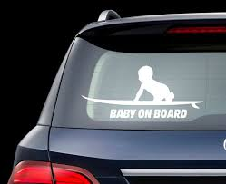 Surfboard Baby On Board Car Decal Baby Surfer Decal Surf Etsy