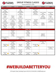 cl schedule fuzion fitness gym