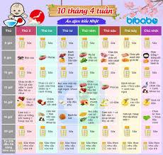 Thực đơn ăn dặm cho bé 10 tháng 4 tuần - bibabo.vn