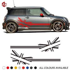 2 Pcs Union Jack Flag Styling Car Door Side Stripes Body Decal Sticker For Mini Cooper S R50 R52 R53 Jcw Accessories Car Stickers Aliexpress