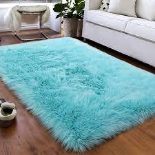 Amazon Com Softlife Fluffy Faux Fur Sheepskin Rugs Luxurious Wool Area Rug For Kids Room Bedroom Bedside Living Room Office Home Decor Carpet 3ft X 5ft Light Blue Home Kitchen