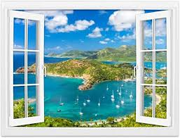 Amazon Com Creative Window Wall Sticker Wall Mural Antigua And Barbuda Exotic Caribbean Island Stock Pictures Royalty Self Adhesive Removable Wall Decal Posters Home Wall Art Decor For Living Room 24x36 Inch Home