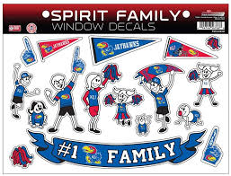 Amazon Com Ncaa Kansas Jayhawks Spirit Family Window Decals Sports Fan Wall Decor Stickers Sports Outdoors