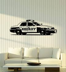 Amazon Com Vinyl Wall Decal Police Car Cop Sheriff Garage Boys Room Stickers Mural Large Decor G1858 Black Home Kitchen