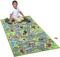 Amazon Com Kids Carpet Extra Large 80 X 40 Playmat City Life Learn Have Fun Safe Children S Educational Road Traffic System Multi Color Play Mat Rug Great For Playing With Cars