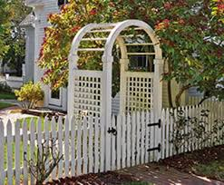 Spindle Top Arbor With Sudbury Picket Fence And Gate Wood Arbors And Solid Cellular Pvc Arbors From Walpole Outdoors