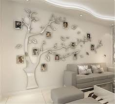 Amazon Com Kenmont Large Family Tree Wall Decals 3d Diy Photo Frame Wall Stickers Crystal Acrylic Mural For Living Room Sofa Tv Art Wall Background Silver M Left Home Kitchen