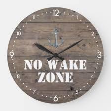 no wake zone rustic dark wood anchor