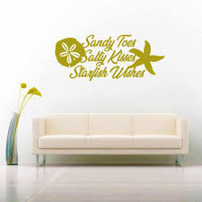 Sandy Toes Salty Kisses Starfish Wishes Tropical Beach Decal Sticker