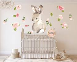 30 Bunny Rabbit Watercolor Wall Decal Sticker Wallpaper Decals Flower Pink Forest Cafe