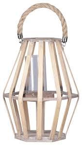 pentagon wood lantern with rope handle
