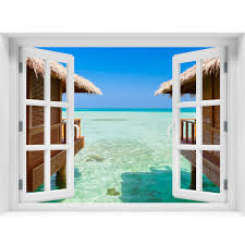 Window Wall Mural Bungalows On The Sea Peel And Stick Fabric Illusion Royalwallskins