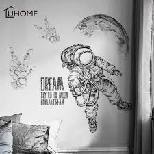 Waliicorners Large Vintage Black And White Wall Sticker Space Astronaut Decal Living Room Bedroom Decoration Kids Room Wall Stickers Adhesive Waliicorner S Store