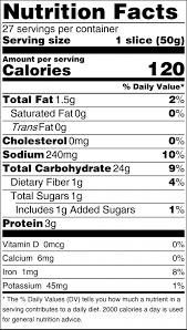 white bread nutrition label best