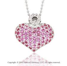 pink heart diamond necklace 14k white