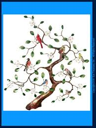 Large Dogwood Tree And Songbirds W4400 Bovano Wall Sculpture