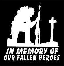 Soldier At Cross Decal Military In Memory Of Our Fallen Heroes Vinyl Car Sticker Military Stickers Fallen Heroes Soldier Silhouette
