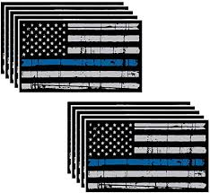 Amazon Com 10 Pack Of Tattered Flag Thin Blue Line Police Officer Blm American Distressed Vinyl Decal Blue Lives Matter Sticker Car Truck 3 X 5 5 Grunge Flag Kitchen Dining