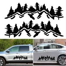 Tree Mountain Car Sticker Decor Pet Reflective Forest For Suv Rv Camper Offroad Black White Car Sticker Decal Mayitr Car Stickers Aliexpress
