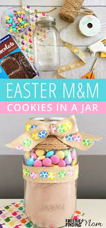 homemade easter m m cookies in a jar