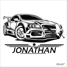 Amazon Com Anewdecals Car Sport Boy Name Personalized Wall Sticker Decal Racing Car Decal Vinyl Sticker For Nursery Custom Desing Made In Usa Home Kitchen